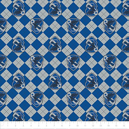 Harry Potter Flannel Wizarding World Argyle Ravenclaw in Blue/Gray Premium Quality Flannel Fabric by The Yard