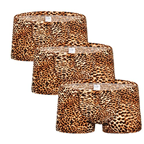 Jolie Herren Boxer-Shorts Leopard-Druck Schwacher Anstieg Unterwäsche Weich Unterhose Schlüpfer 3 Pack,Yellow,XL