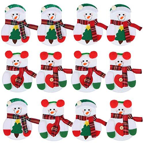 Pangda 12 Pezzi Supporto di Argenteria di Natale Portaposate Tascabile Sacchetti della Forcella e Coltelleria di Pupazzo di Neve di Natale Decorazione Natalizia Utensili da Cucina