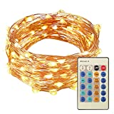 ONSON String Lights, 33ft with 100 Leds,Waterproof Dimmable String With Remote Control For Decoration, Party, Banquet, Halloween And Christmas - Warm White