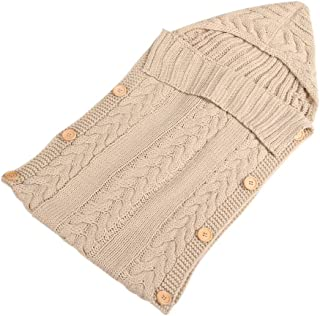 KINDOYO Infant Sleeping Bag - Outdoor Cute Infant Knit Button SleepingSacks 70CM/ 0~1 Years,Beige