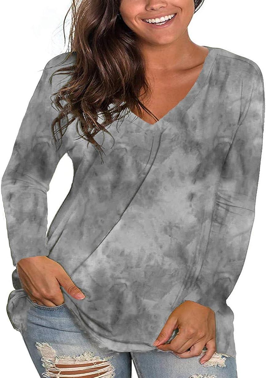 Womens 1X ~ 5X Plus Size Tops Long Sleeve V Neck Tie dye Shirts Tunic Tshirts Tee