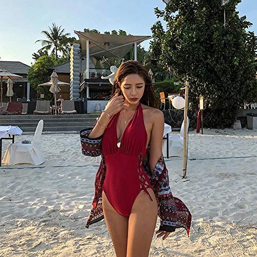 Dames Strapless Bandeau-bikiniset, Sexy diepe V-bandjes verzamelen zich in een badpak, bedekken de buik en tonen een dun zwempak-green_M, Damesondergoed Zwemkleding