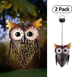 Petrala Solar Lanterns Hanging Outdoor Vintage Cute Owl Metal Lanterns 7 lumens Brown for Garden Patio Porch 2 Pack
