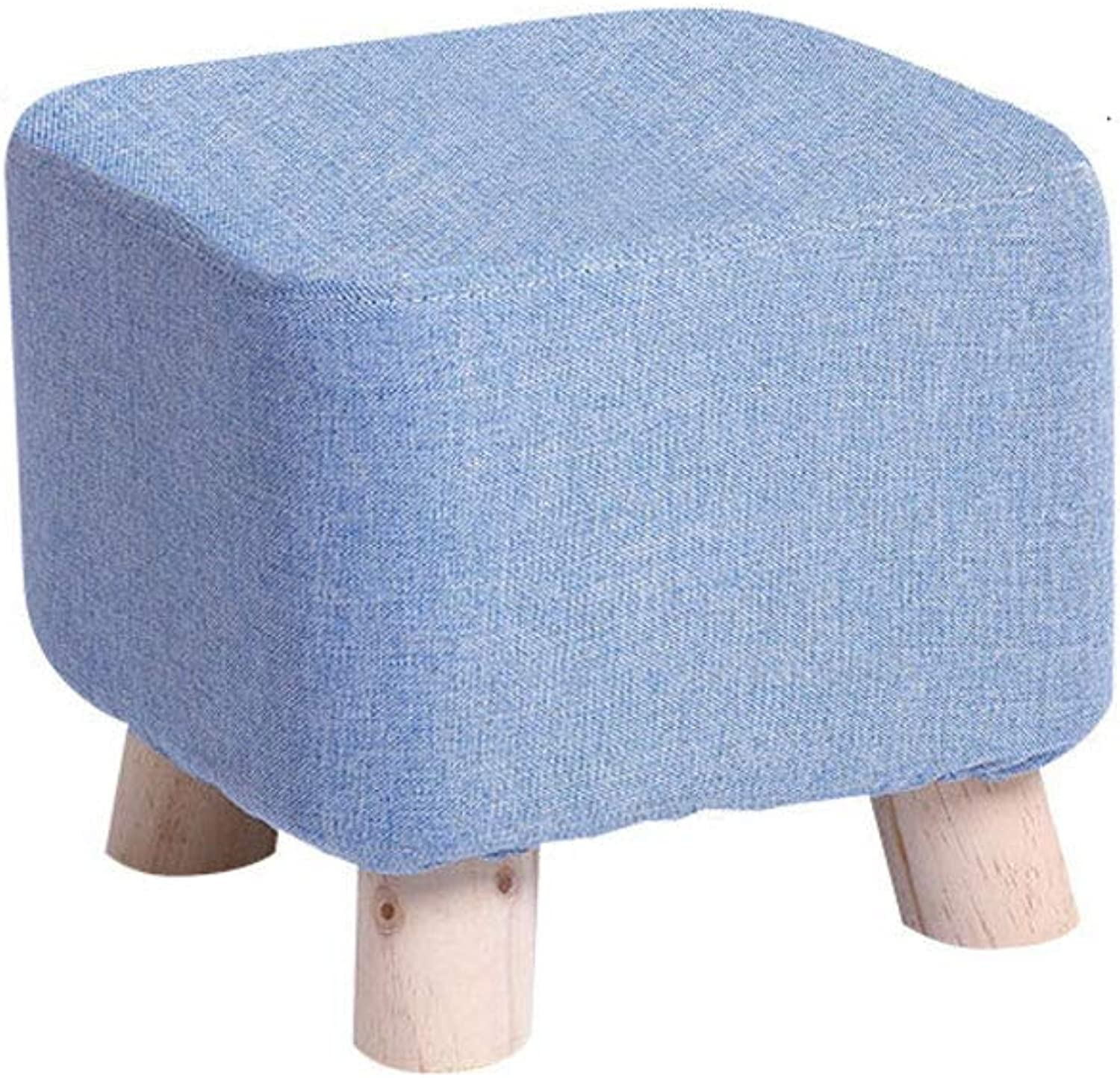 Footstool, Solid Wood Creative Footstool Printing Small Bench Living Room Fabric shoes Bench Small Stool Sofa pier (color   E)