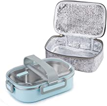 Lille Home 22oz Stainless Steel Leakproof 2-Compartment Lunch Box, Insulated Bento Box/Portion Control Food Container with Insulated Lunch Bag | Adults, Men, Women(Blue)