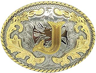 Initial Letter Belt Buckle Western Cowboy Style Rodeo Large Gold Silver Metal Buckles for Men Women (ABC-Z). …