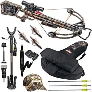 Wicked Ridge TenPoint Invader X4 360 FPS Deluxe Hunter's Crossbow Bundle with Backpack Case, Shooting Stick, Sling, Rail Lube and Hat. Made in The USA. (7 Items)