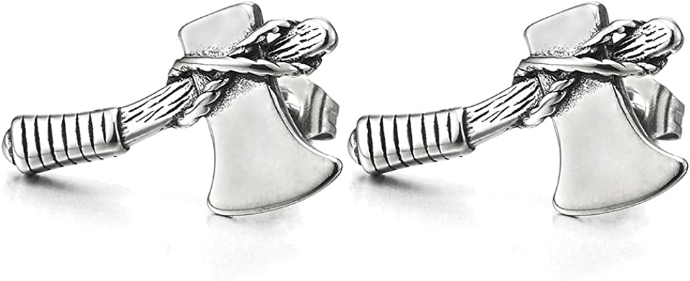 2pcs Stainless Steel Ax Axe Stud Earrings for Man for