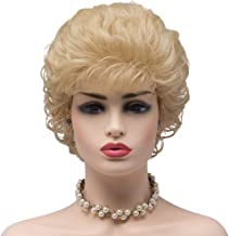 BESTUNG Ladies Blonde Short Curly Synthetic Full Hair Wigs Deep Wavy Fluffy Cosplay Costume Wig for Women (86/613#-Golden Blonde)