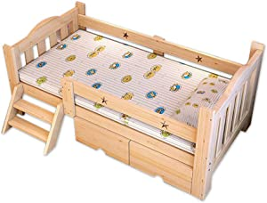 FQJY Toddler Beds with Two Drawers Storage  Solid Wood Junior Toddler Bed 150 Cm  Does Not Include Mattress