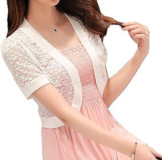 Women's Bolero Cardigan Crochet Knit Short Sleeve Jacket Lace Small Feast Clothing Blazer Shoulder Jacket Fashion 2019 Wom...