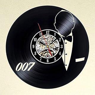 bnkrtopsu Personalidad 007 James Bond Tema clásico Personajes de películas Vinilo Retro Registro Creativo Hecho a Mano decoración del hogar Reloj de Pared