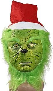 Christmas Geek Green Furry Grinch mask, Funny Props Prank Headgear, Cosplay Christmas mask