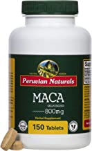 Organic Maca 800mg - 150 Tablets, Maca Root Tablet for Energy Boost, Libido Enhancement, Hormone Balance and Mood Support, Supplements for Men and Women, Gluten-Free and Non-GMO - Peruvian Naturals