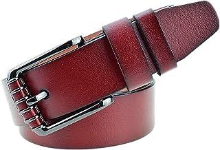 Men Leather Belt Buckle Casual All-Match Genuine Leather Men Belt (Color : Red, Size : M)