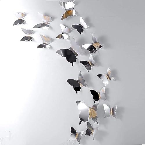 48 Pièces Papillon Miroir Bricolage Combinés Stickers Muraux Papillons 3D Décoration de la Maison