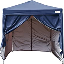 KING BIRD 10x10 ft Easy Pop up Canopy Waterproof Party Tent with 4 Removable Walls Mesh Windows & Carry Bag -Navy Blue