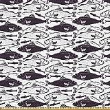 ABAKUHAUS Tier Stoff als Meterware, Punktierte Fische Retro