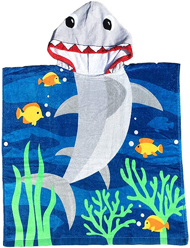 FEOYA Hooded Bath Towel For Kids Thick Cotton Shark Poncho Robe For Pool Beach Bath 27 56 X 23 62 Inch