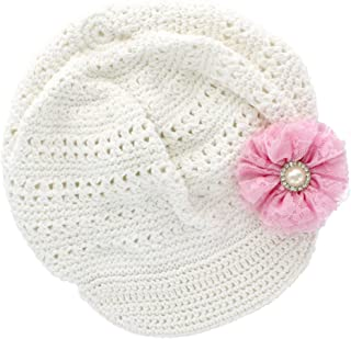 Little Girl's Newsboy Crochet Beanie Hat with Vintage Lace/Tulle Flower