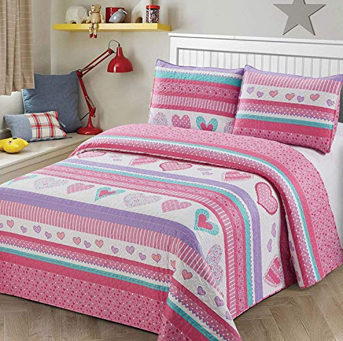 Smart Linen Kids/Teens/Girls Bedspread Set Coverlet Hearts Pink Hot Pink Lavender Turquoise White New # Bedspread Heart Pink (Full/Queen)