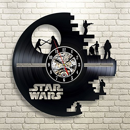 Reloj de pared vintage con disco de vinilo, ideal como regalo para los fans de Star Wars