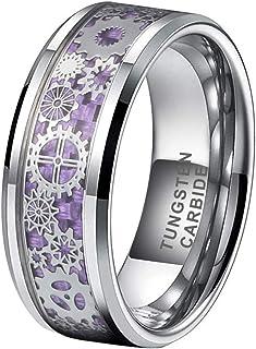 حلقه iTungsten 6mm 8mm نقره ای/مشکی برای مردان زنان Steampunk Gear Wheel Wheel/Purple Carbon Fiber Inlay Beveled Edges Comfort Fit