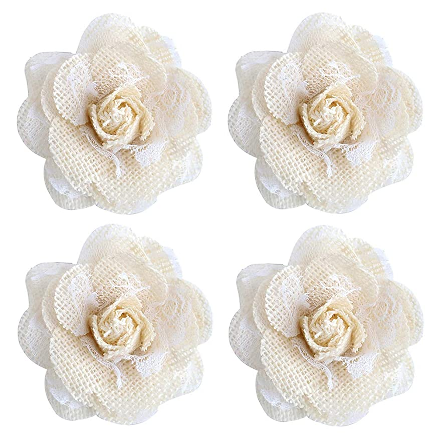 4pcs Natural Handmade Burlap Flowers Rustic Lace Rose for DIY Craft Wedding Decoration (item17)