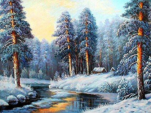 Queenlink Peinture à broder carrée à strass Motif forêt enneigée