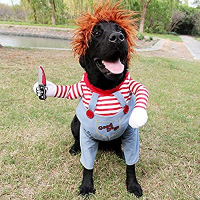 Deadly Doll Dog Clothes Pets Costume Halloween Cosplay For Small and Medium-sized and Large Dogs Costumes Plus Hat Funny Dog Party Clothes Christmas Costume