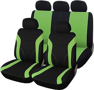 eSituro SCSC0098 Housse pour siège Auto,Housse de Protection kit Complet,Couverture de siège pour Voiture Universel Motif Papillon Noir/Vert Ensembles de housses de siège