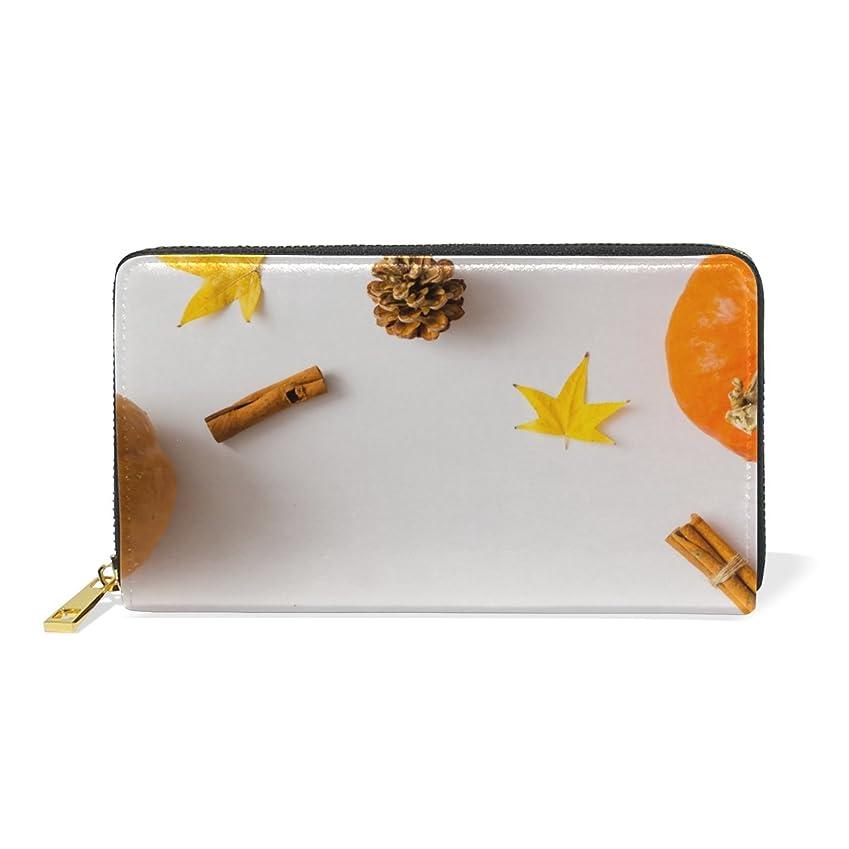 テストにぎやか肌寒い旅立の店 長財布 人気 レディース メンズ 大容量多機能 二つ折り ラウンドファスナー 本革  カボチャ柄 オレンジ色 秋の風物詩 ウォレット
