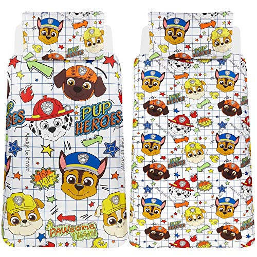 Paw Patrol Blueprint Single Duvet Cover - Reversible Two Sided Official Bedding Duvet Cover With Matching Pillow Case - Chase, Marshall, Rubble & Zouma