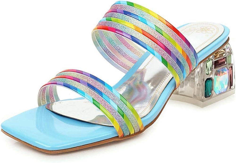 Vimisaoi Slide Sandals for Women, Fashion Square Toe Slip On Block Mid Heel Mules Rhinestone Sandals Slippers