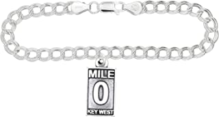 Sterling Silver Oxidized Mile 0 Key West Charm -with Options