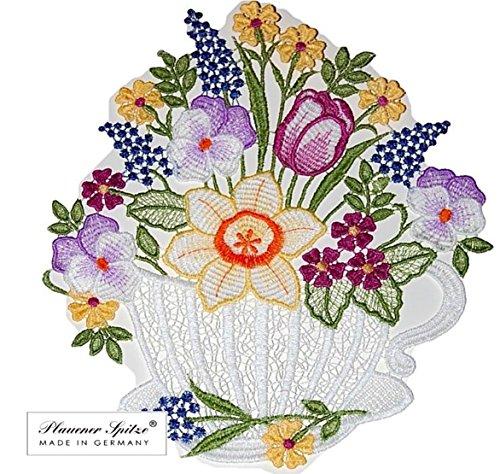 Fensterbild 22x24 cm + Saugnapf Plauener Spitze Stickerei Blumen Kaffeetasse Fensterdeko Frühling Sommer
