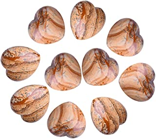 AMOYSTONE 10 pcs Picture Jasper Healing Stones, Puffy Heart Stones 30mm for Home Decor Jewelry Making
