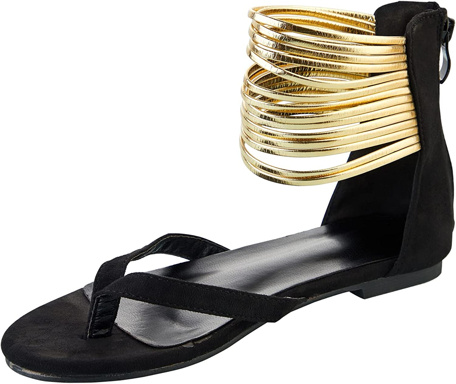 Women's Strappy Gladiator Flat Sandals Ankle Strap Cut Out Thong Flip Flops Slide Shoes For Summer