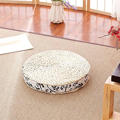 Tessuto Paglia Cuscino Del Sedile,Rotondo Artigianale Stile Giapponese Tatami Cuscino Addensare Yoga Pavimento Cuscino Esterno Giardino Casa Soggiorno Decorazione Cuscino 50x50x7CM D