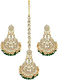 Jaipur Mart Gold Plated Brass Metal Kundan Maang Tikka Earrings Combo Set for Women