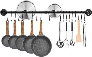 Toplife Barre de Cuisine Industrielle, 120 cm Porte Casserole Mural Cuisine, Support de Pot en Fer avec 18 Crochets pour U...