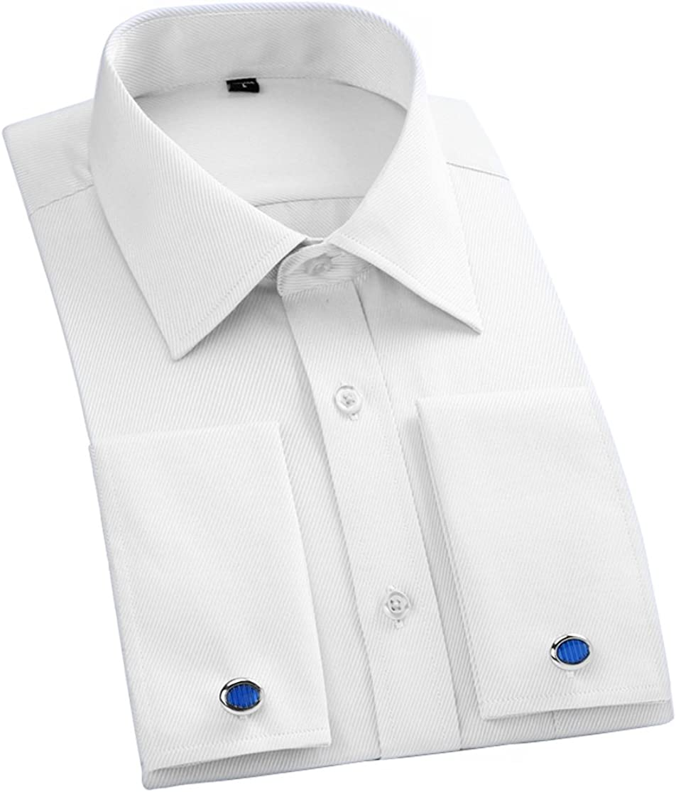 JEETOO Men's Solid Color Slim Fit Long Sleeve French Cuff Dress Shirts with Cufflinks