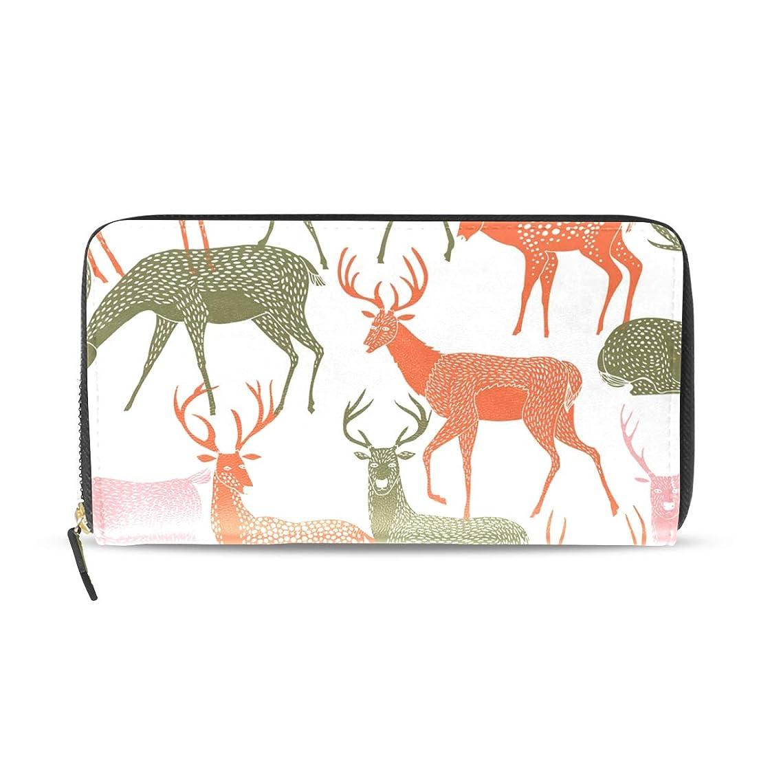 覚醒動力学うんざりマキク(MAKIKU) 財布 レディース 長財布 本革 大容量 鹿柄 動物 カラフル プレゼント対応