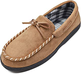 MEJORMEN Men's Moccasin House Slippers Flannel Lined Wide Shoes Micro Suede Slip On Flats Comfort Memory Foam Rubber Sole Indoor