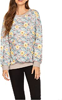 neveraway Women's Camouflage Round Neck Casual Loose Long-Sleeve Top Sweatshirt