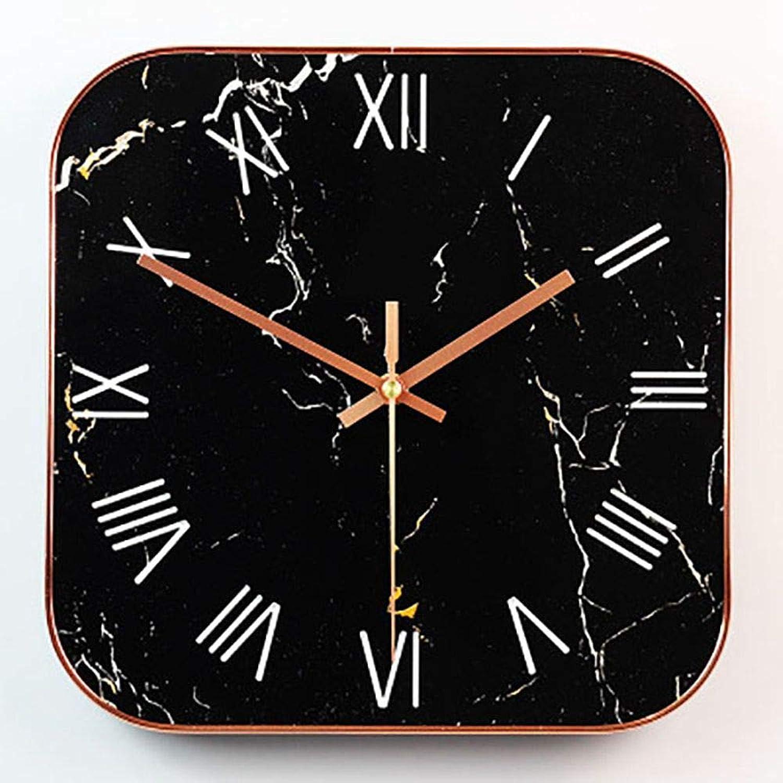 ZKAHD Reloj de Parojo Reloj de Parojo Cuadrado del Dormitorio Mármol Relojes de Parojo Decorativos Grandes Decoración para el hogar Superventas, Negro