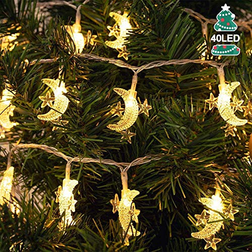 20ft 40 LED Moon Star String Lights, Fairy Lights Battery Powered Decorative Lighting for Wedding Party Home Garden Bedroom Outdoor Indoor, Décor Gift for Ramadan, Mother's Day,Warm White