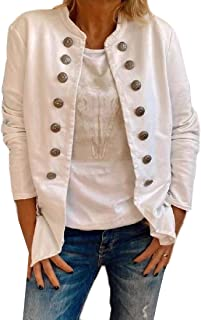 desolateness Women's Open Front Long Sleeves Work Casual Buttons Jacket