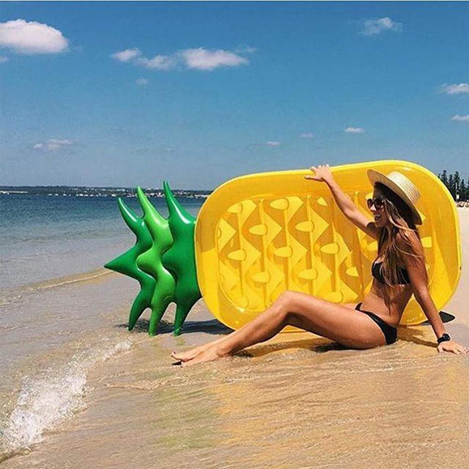 Giant Pineapple Pool Rafts Inflatable Toys,Summer Beach Swimming Pool Inflatable Lounge Pool Loungers